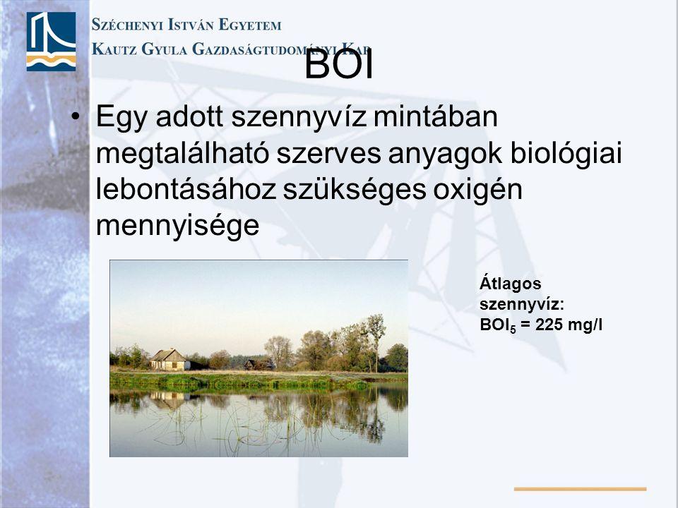 BOI Egy adott szennyvíz mintában megtalálható szerves anyagok biológiai lebontásához szükséges oxigén mennyisége Átlagos szennyvíz: BOI 5 = 225 mg/l