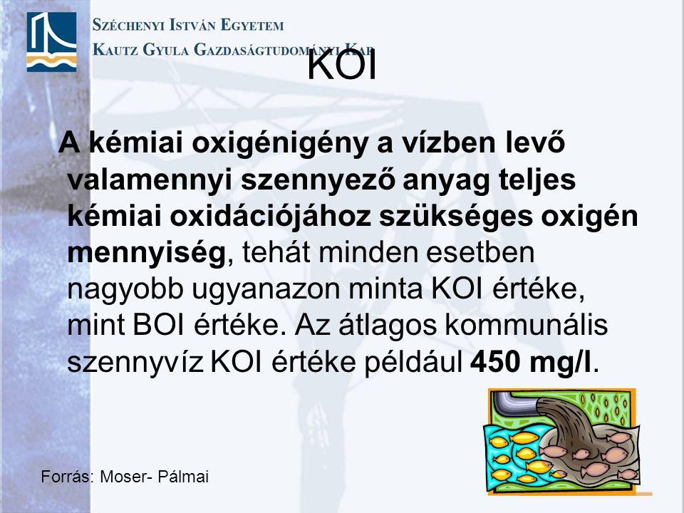 KOI A kémiai oxigénigény a vízben levő valamennyi szennyező anyag teljes kémiai oxidációjához szükséges oxigén mennyiség, tehát minden esetben nagyobb
