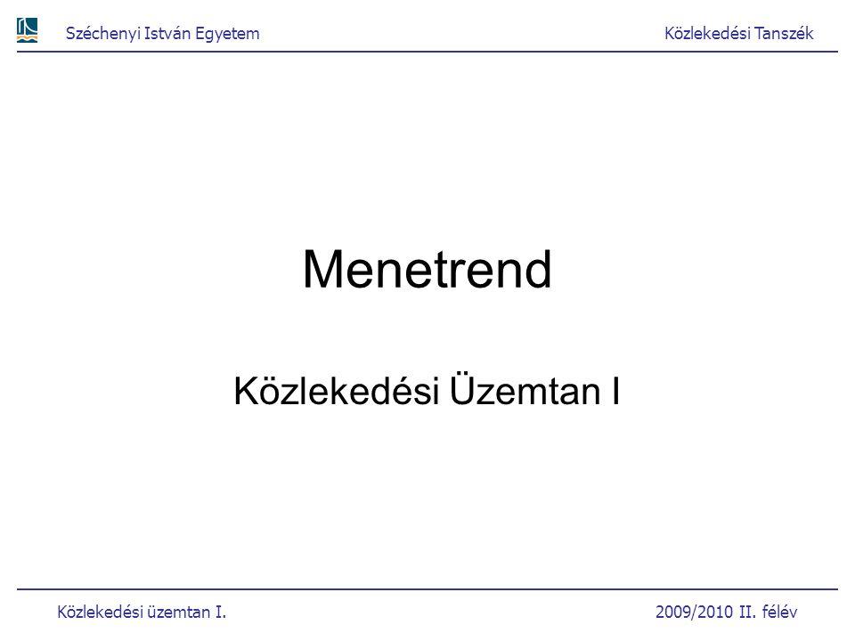 Széchenyi István EgyetemKözlekedési Tanszék Közlekedési üzemtan I. 2009/2010 II. félév Menetrend Közlekedési Üzemtan I