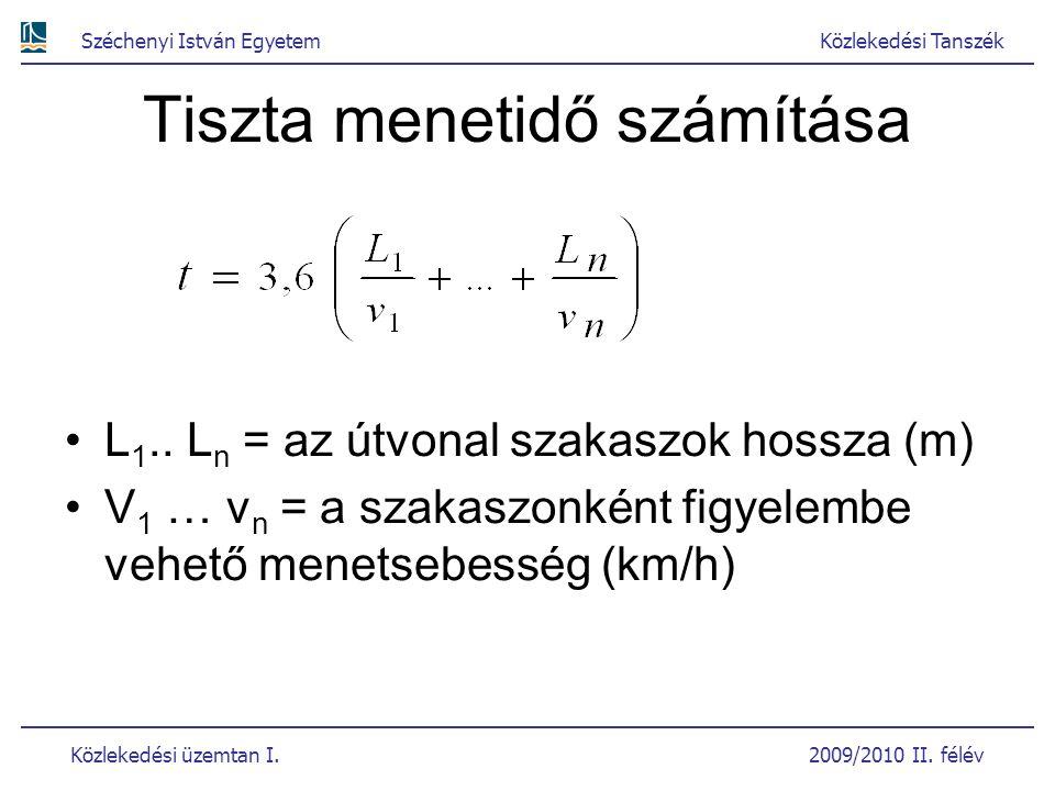Széchenyi István EgyetemKözlekedési Tanszék Közlekedési üzemtan I. 2009/2010 II. félév Tiszta menetidő számítása L 1.. L n = az útvonal szakaszok hoss