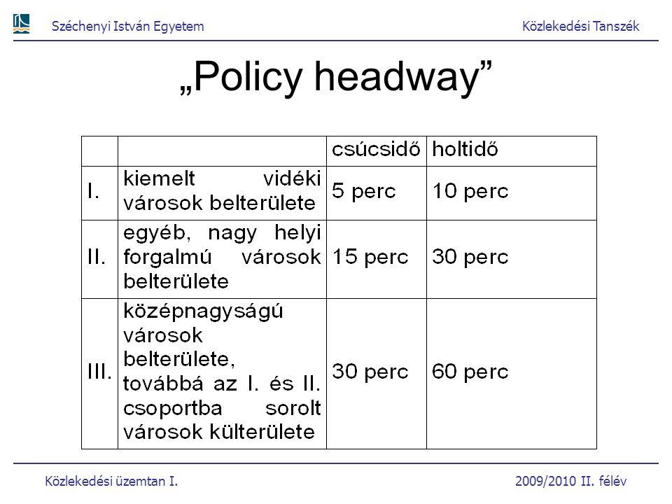 """Széchenyi István EgyetemKözlekedési Tanszék Közlekedési üzemtan I. 2009/2010 II. félév """"Policy headway"""""""