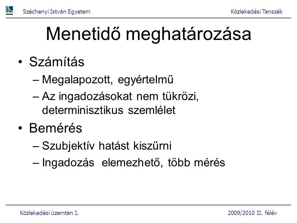 Széchenyi István EgyetemKözlekedési Tanszék Közlekedési üzemtan I. 2009/2010 II. félév Menetidő meghatározása Számítás –Megalapozott, egyértelmű –Az i