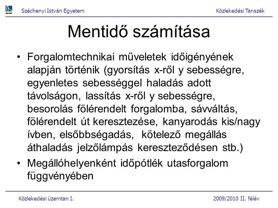Széchenyi István EgyetemKözlekedési Tanszék Közlekedési üzemtan I. 2009/2010 II. félév Mentidő számítása Forgalomtechnikai műveletek időigényének alap