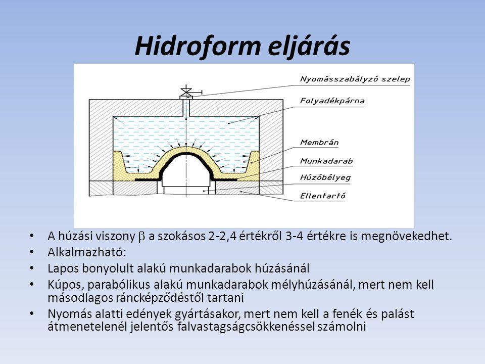 Hidroform eljárás A húzási viszony  a szokásos 2-2,4 értékről 3-4 értékre is megnövekedhet. Alkalmazható: Lapos bonyolult alakú munkadarabok húzásáná