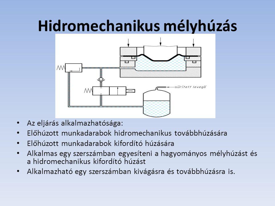 Hidromechanikus mélyhúzás Az eljárás alkalmazhatósága: Előhúzott munkadarabok hidromechanikus továbbhúzására Előhúzott munkadarabok kifordító húzására