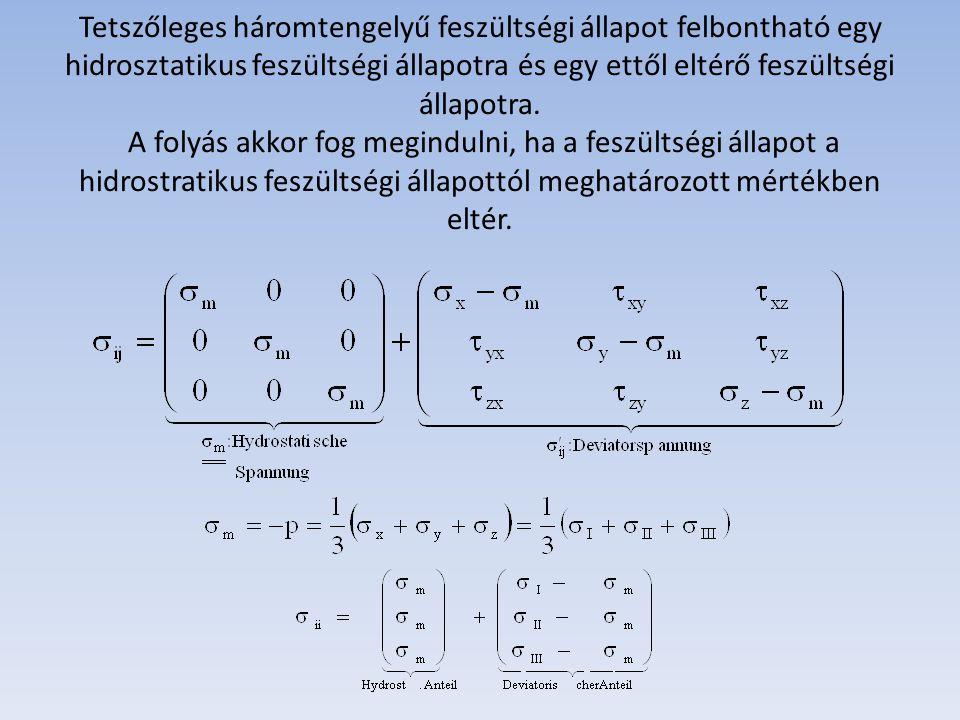 Tetszőleges háromtengelyű feszültségi állapot felbontható egy hidrosztatikus feszültségi állapotra és egy ettől eltérő feszültségi állapotra. A folyás