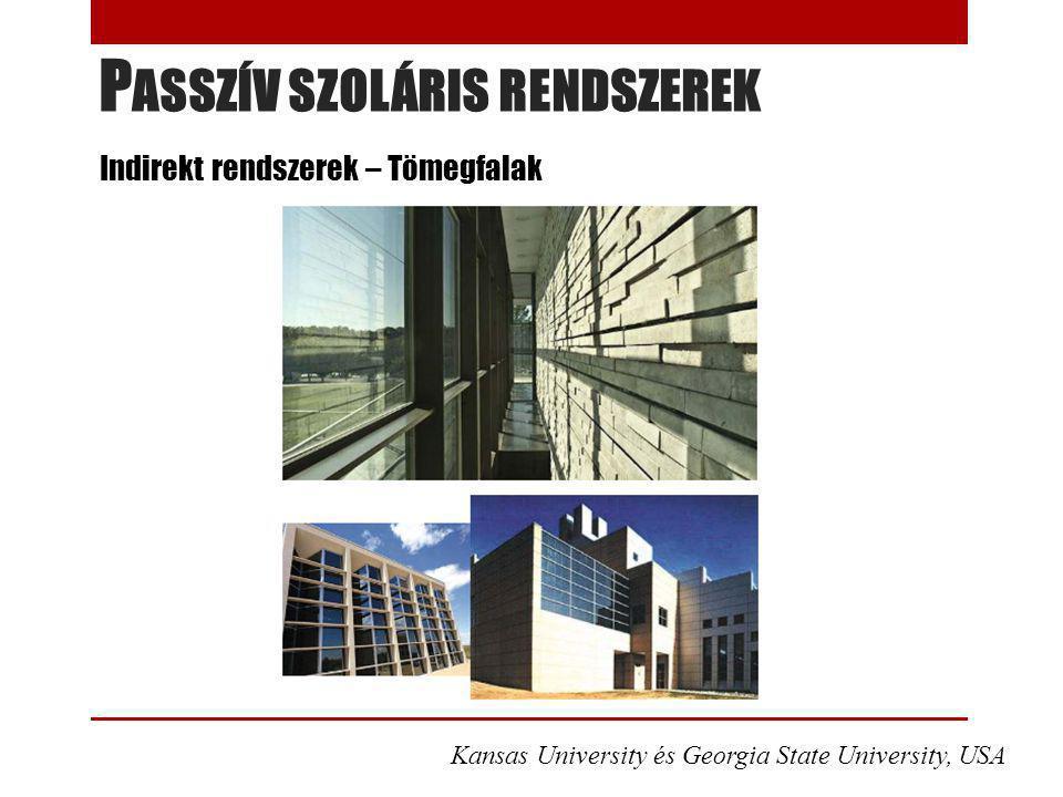 P ASSZÍV SZOLÁRIS RENDSZEREK Indirekt rendszerek – Tömegfalak Kansas University és Georgia State University, USA