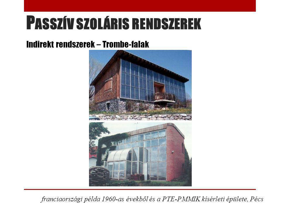 P ASSZÍV SZOLÁRIS RENDSZEREK Indirekt rendszerek – Trombe-falak franciaországi példa 1960-as évekből és a PTE-PMMIK kísérleti épülete, Pécs