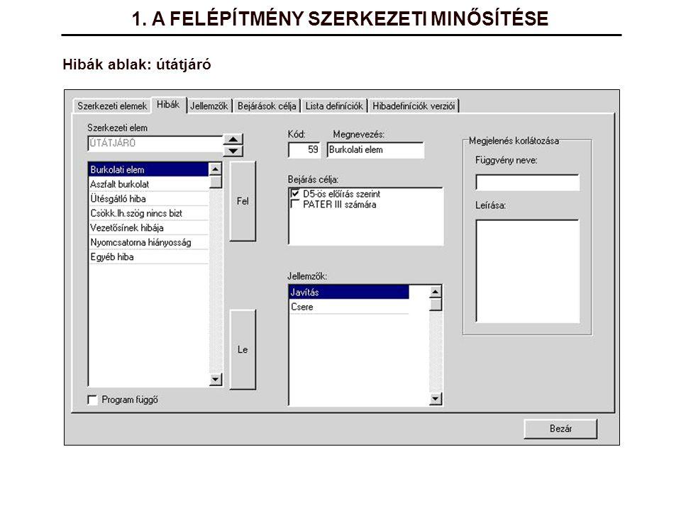 Hibák ablak: útátjáró 1. A FELÉPÍTMÉNY SZERKEZETI MINŐSÍTÉSE