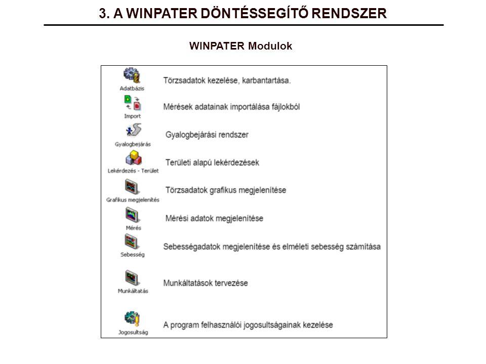 3. A WINPATER DÖNTÉSSEGÍTŐ RENDSZER WINPATER Modulok