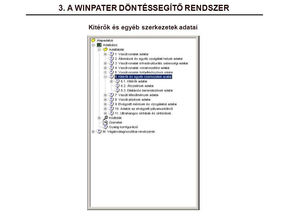 3. A WINPATER DÖNTÉSSEGÍTŐ RENDSZER Kitérők és egyéb szerkezetek adatai