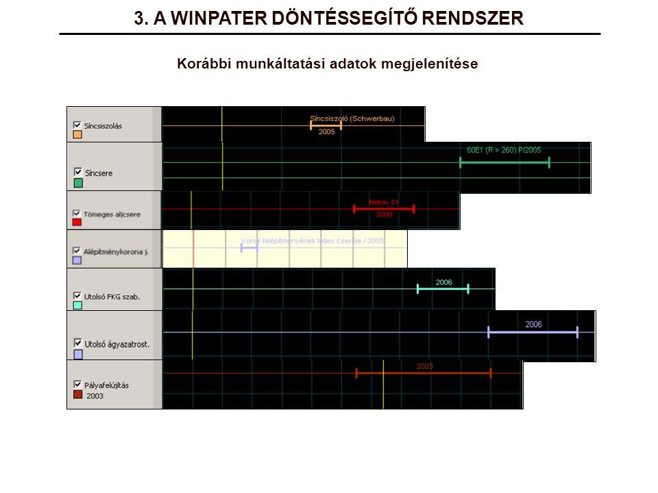 3. A WINPATER DÖNTÉSSEGÍTŐ RENDSZER Korábbi munkáltatási adatok megjelenítése