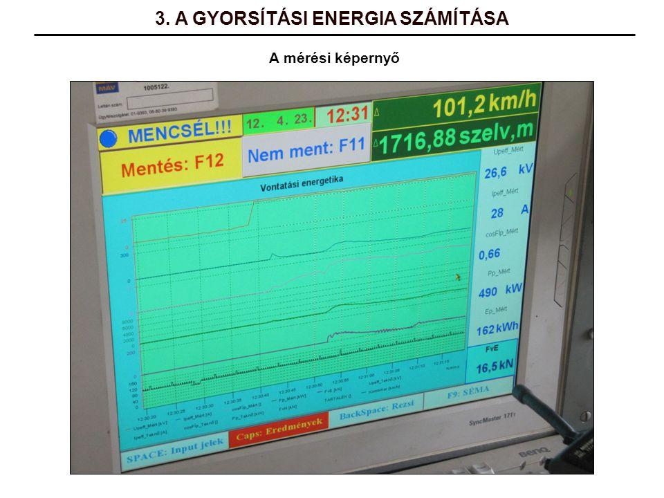A mérési képernyő 3. A GYORSÍTÁSI ENERGIA SZÁMÍTÁSA