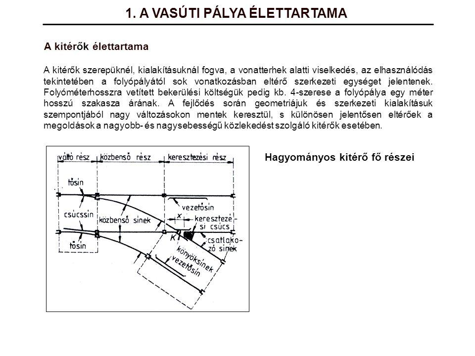 1. A VASÚTI PÁLYA ÉLETTARTAMA A kitérők szerepüknél, kialakításuknál fogva, a vonatterhek alatti viselkedés, az elhasználódás tekintetében a folyópály