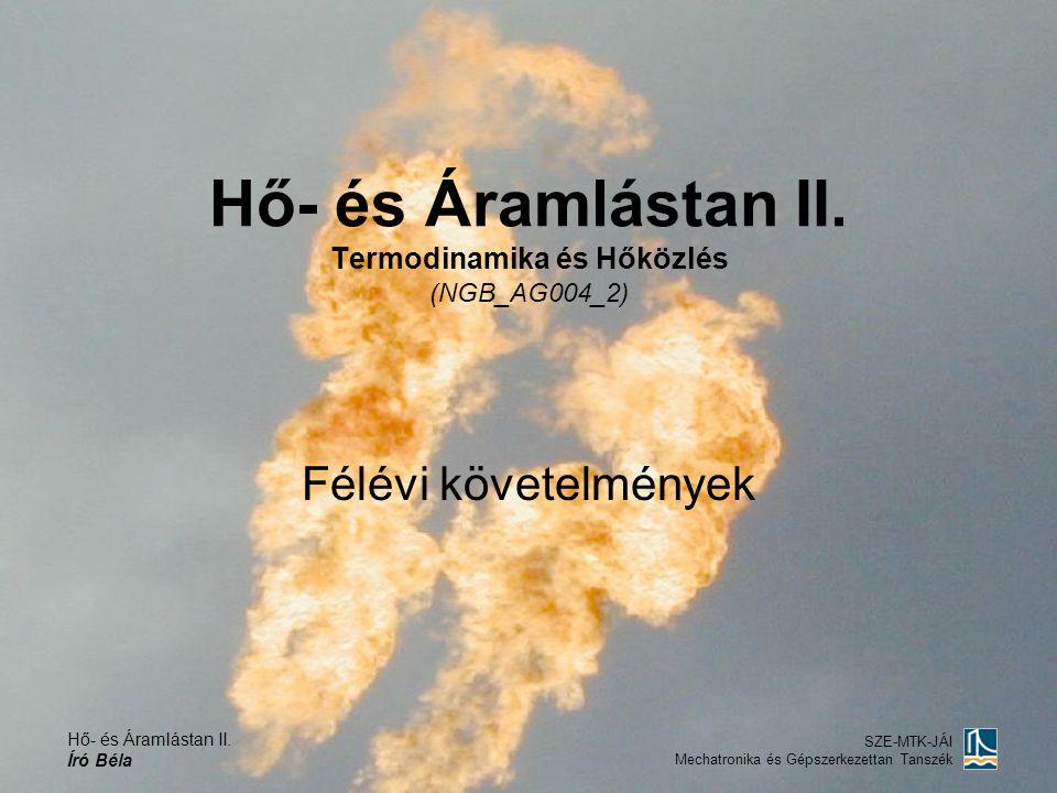 Hő- és Áramlástan II. Író Béla SZE-MTK-JÁI Mechatronika és Gépszerkezettan Tanszék Hő- és Áramlástan II. Termodinamika és Hőközlés (NGB_AG004_2) Félév