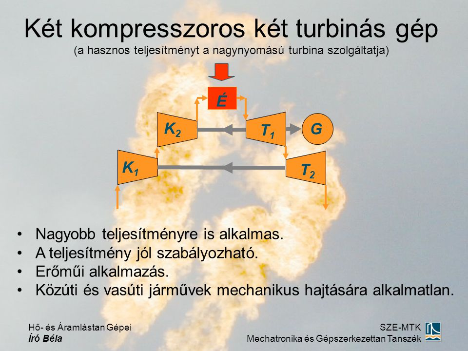 Két kompresszoros két turbinás gép (a hasznos teljesítményt a nagynyomású turbina szolgáltatja) Nagyobb teljesítményre is alkalmas.