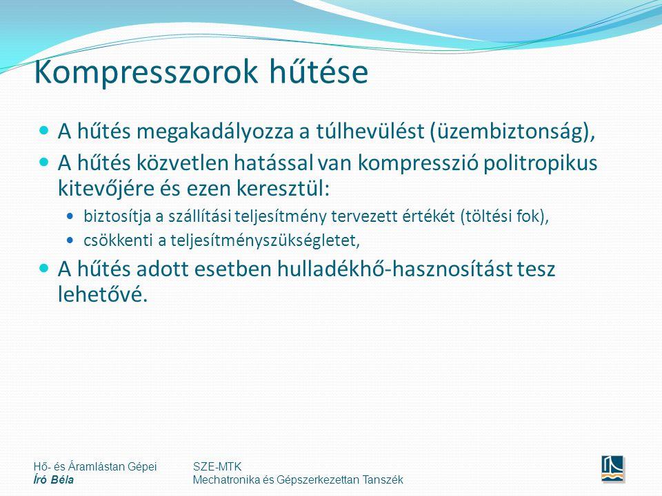 Kompresszorok hűtése A hűtés megakadályozza a túlhevülést (üzembiztonság), A hűtés közvetlen hatással van kompresszió politropikus kitevőjére és ezen