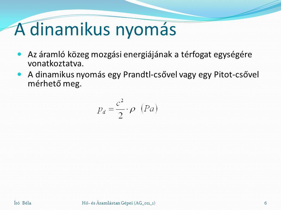 A dinamikus nyomás Az áramló közeg mozgási energiájának a térfogat egységére vonatkoztatva. A dinamikus nyomás egy Prandtl-csővel vagy egy Pitot-csőve