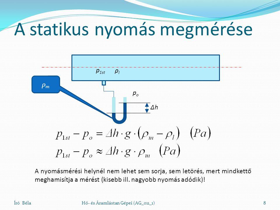 A statikus nyomás megmérése Író BélaHő- és Áramlástan Gépei (AG_011_1)8 ΔhΔh popo p 1st A nyomásmérési helynél nem lehet sem sorja, sem letörés, mert