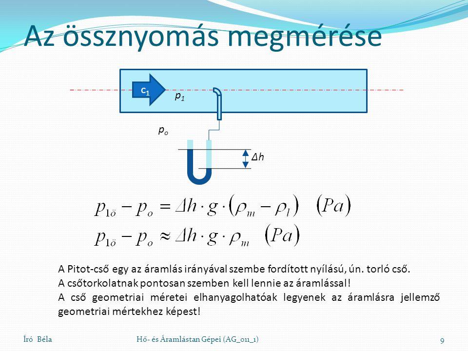 Az össznyomás megmérése Író BélaHő- és Áramlástan Gépei (AG_011_1)9 ΔhΔh popo p1p1 A Pitot-cső egy az áramlás irányával szembe fordított nyílású, ún.