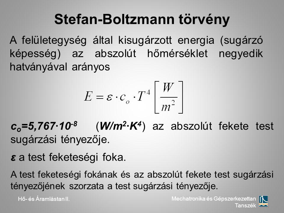 Hő- és Áramlástan II. Mechatronika és Gépszerkezettan Tanszék Stefan-Boltzmann törvény c o =5,767·10 -8 (W/m 2 ·K 4 ) az abszolút fekete test sugárzás