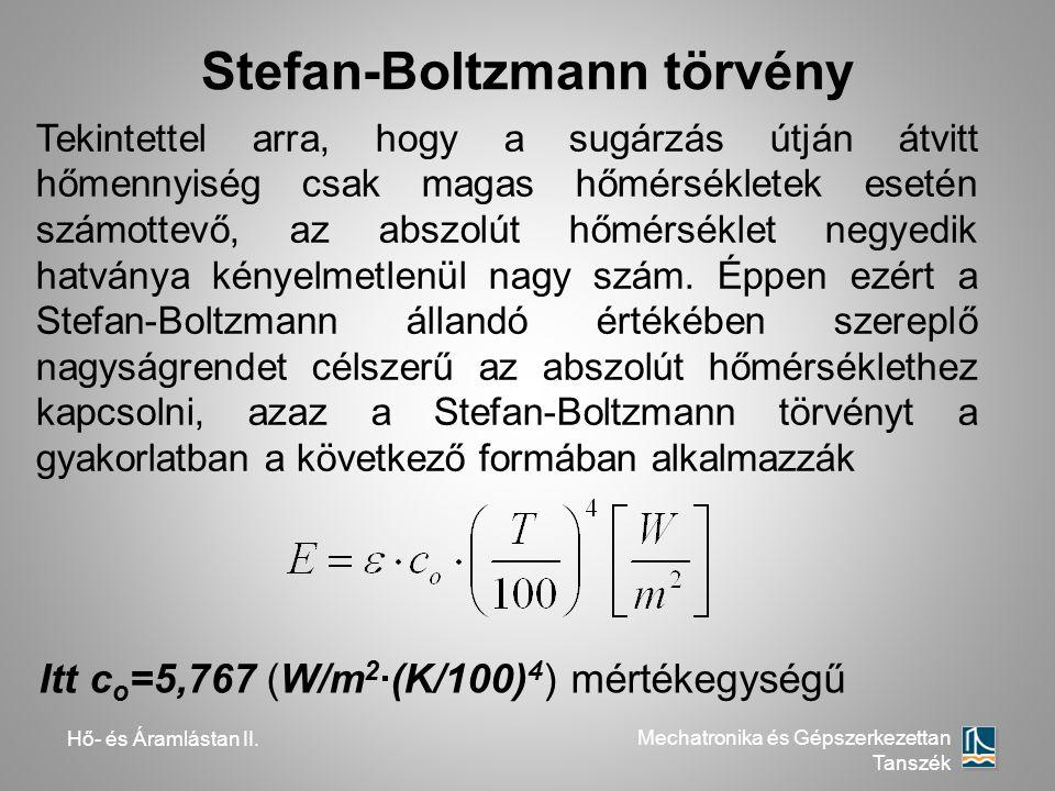 Hő- és Áramlástan II. Mechatronika és Gépszerkezettan Tanszék Stefan-Boltzmann törvény Itt c o =5,767 (W/m 2 ·(K/100) 4 ) mértékegységű Tekintettel ar