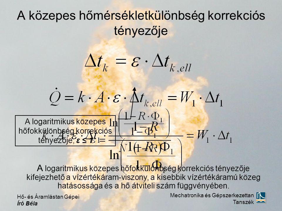 A közepes hőmérsékletkülönbség korrekciós tényezője A logaritmikus közepes hőfokkülönbség korrekciós tényezője, ε ≤ 1 A logaritmikus közepes hőfokkülö