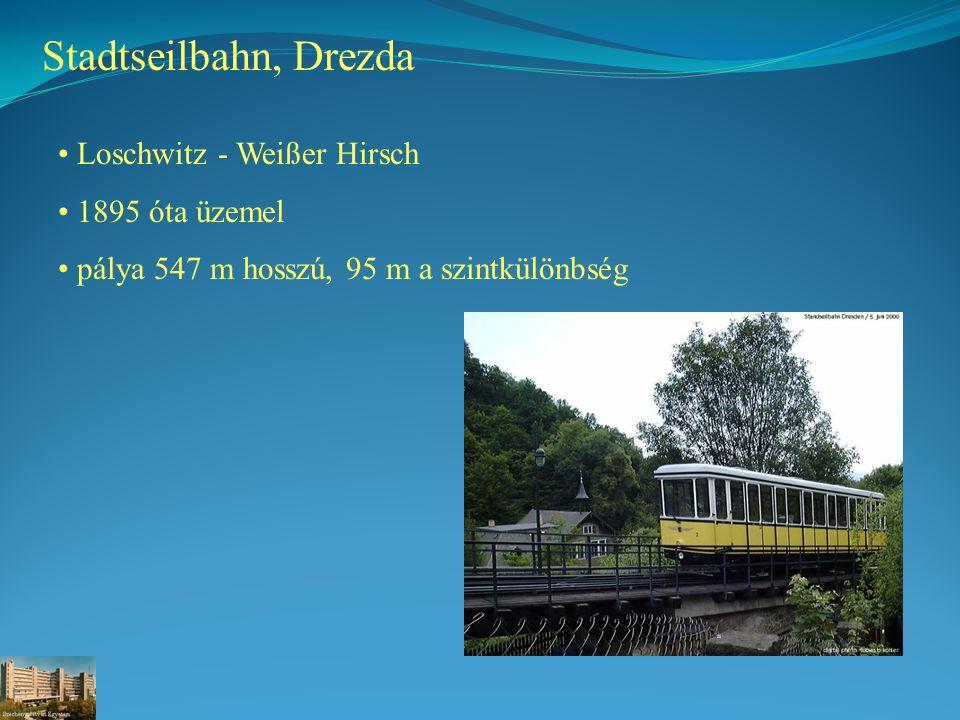 Stadtseilbahn, Drezda Loschwitz - Weißer Hirsch 1895 óta üzemel pálya 547 m hosszú, 95 m a szintkülönbség