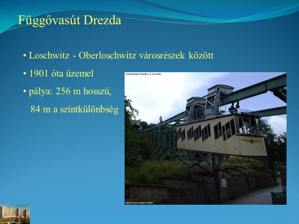 Függővasút Drezda Loschwitz - Oberloschwitz városrészek között 1901 óta üzemel pálya: 256 m hosszú, 84 m a szintkülönbség