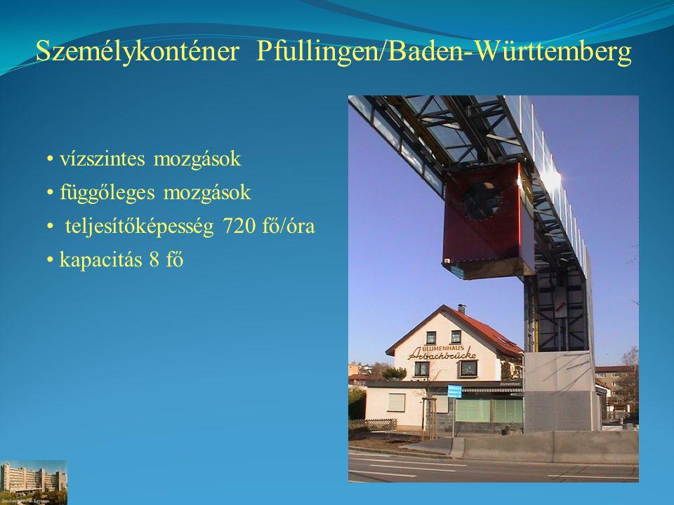 Személykonténer Pfullingen/Baden-Württemberg vízszintes mozgások függőleges mozgások teljesítőképesség 720 fő/óra kapacitás 8 fő