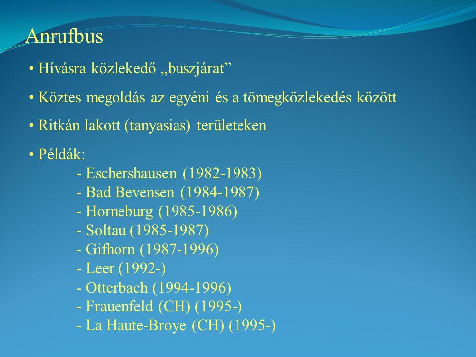 """Anrufbus Hívásra közlekedő """"buszjárat Köztes megoldás az egyéni és a tömegközlekedés között Ritkán lakott (tanyasias) területeken Példák: - Eschershausen (1982-1983) - Bad Bevensen (1984-1987) - Horneburg (1985-1986) - Soltau (1985-1987) - Gifhorn (1987-1996) - Leer (1992-) - Otterbach (1994-1996) - Frauenfeld (CH) (1995-) - La Haute-Broye (CH) (1995-)"""