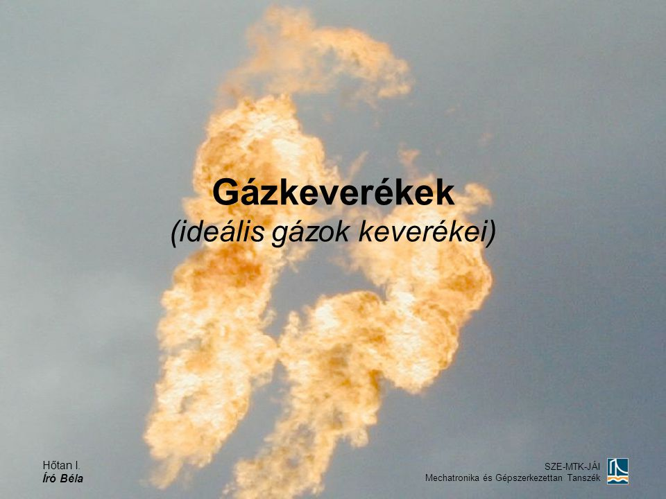Hőtan I. Író Béla SZE-MTK-JÁI Mechatronika és Gépszerkezettan Tanszék Gázkeverékek (ideális gázok keverékei)