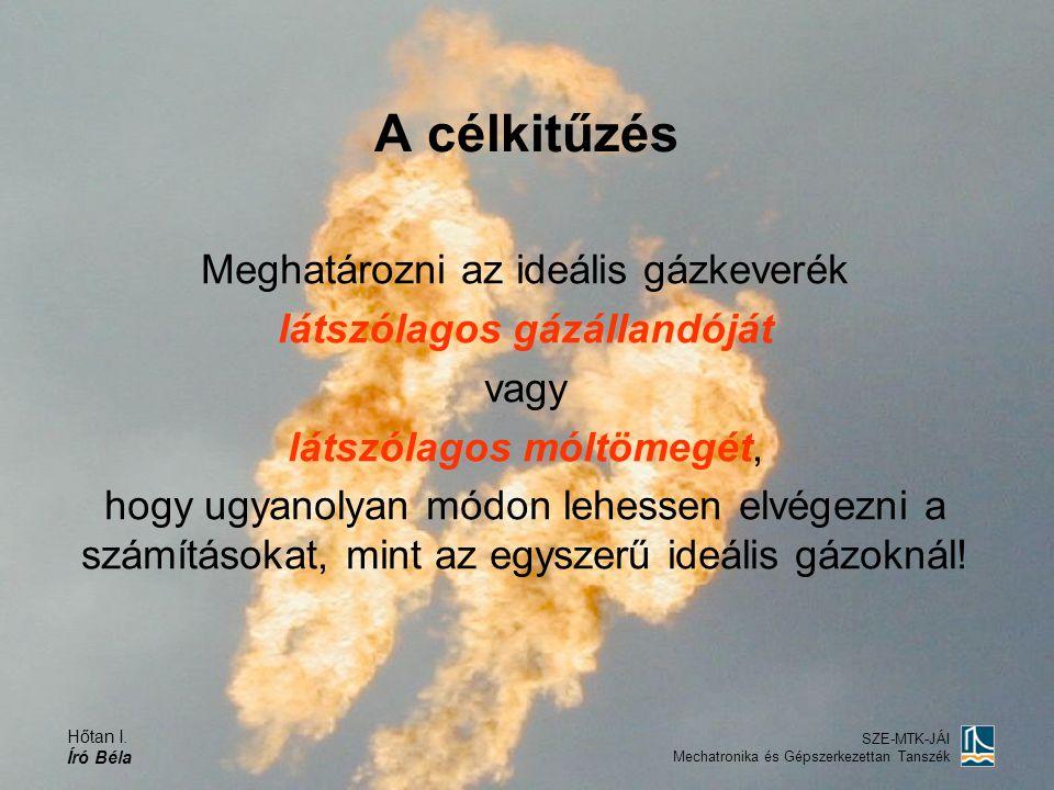 Hőtan I. Író Béla SZE-MTK-JÁI Mechatronika és Gépszerkezettan Tanszék A célkitűzés Meghatározni az ideális gázkeverék látszólagos gázállandóját vagy l
