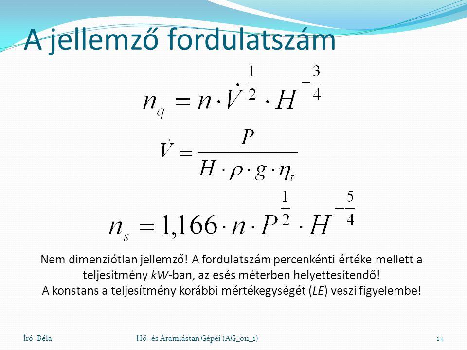 A jellemző fordulatszám Író BélaHő- és Áramlástan Gépei (AG_011_1)14 Nem dimenziótlan jellemző! A fordulatszám percenkénti értéke mellett a teljesítmé