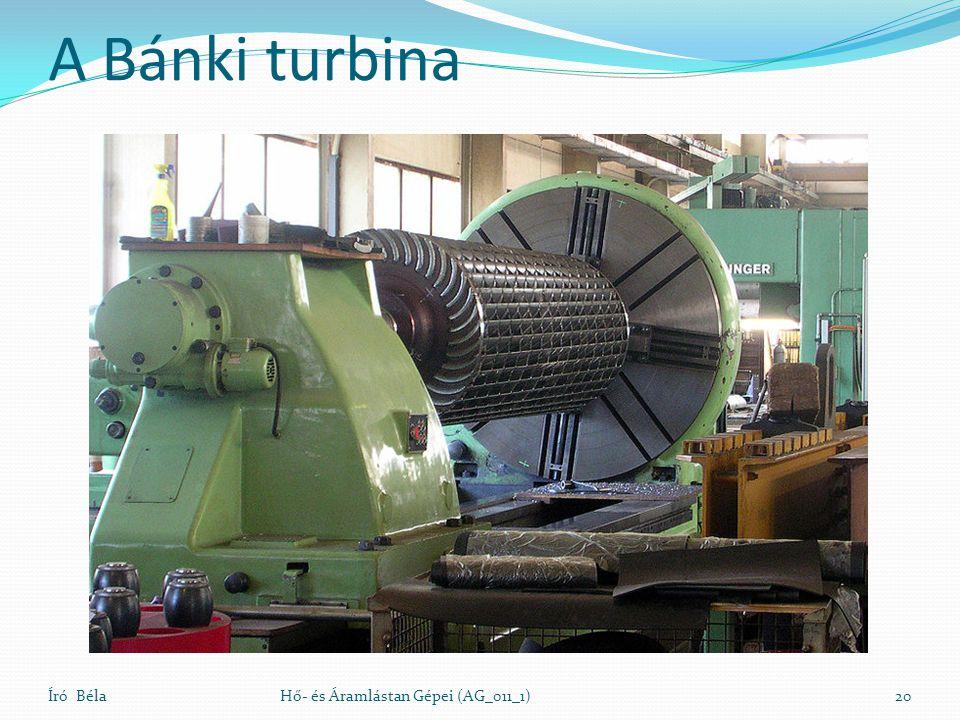 A Bánki turbina Író BélaHő- és Áramlástan Gépei (AG_011_1)20