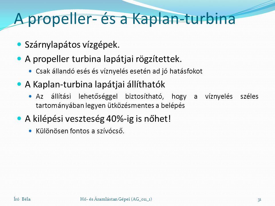 A propeller- és a Kaplan-turbina Szárnylapátos vízgépek. A propeller turbina lapátjai rögzítettek. Csak állandó esés és víznyelés esetén ad jó hatásfo