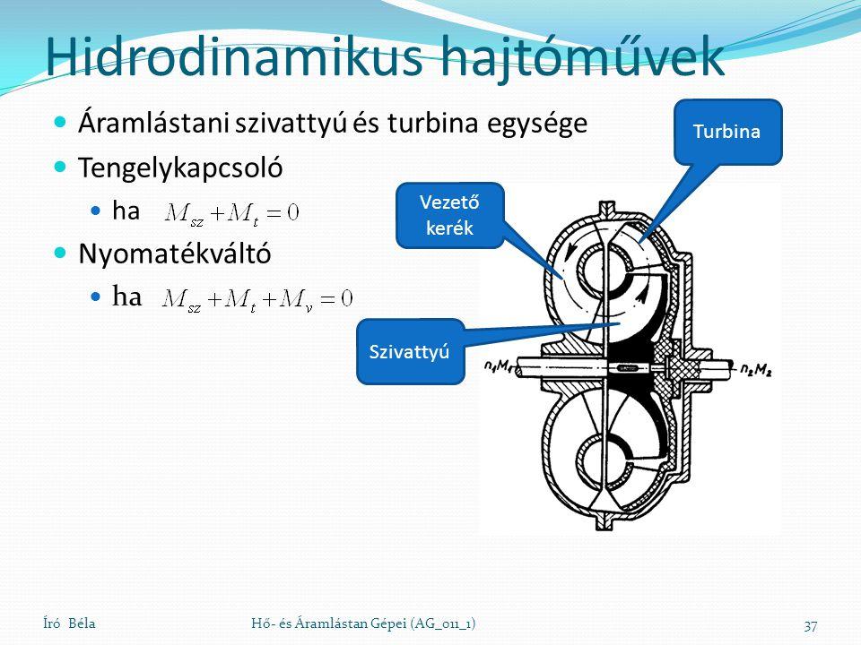 Hidrodinamikus hajtóművek Áramlástani szivattyú és turbina egysége Tengelykapcsoló ha Nyomatékváltó ha Író BélaHő- és Áramlástan Gépei (AG_011_1)37 Ve