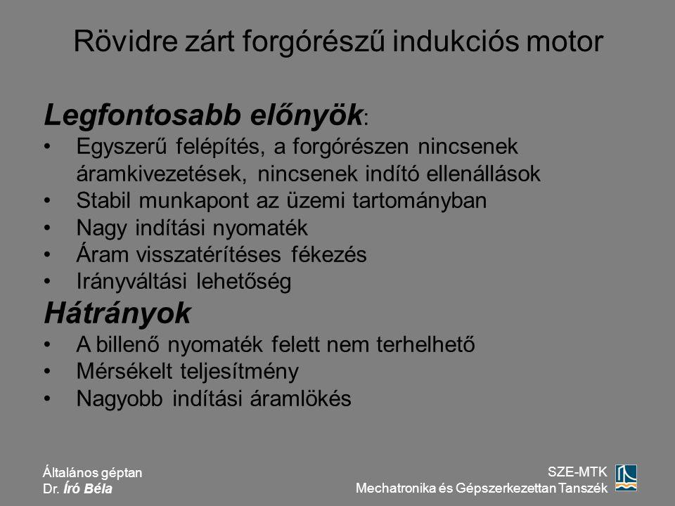 Általános géptan Dr. Író Béla SZE-MTK Mechatronika és Gépszerkezettan Tanszék Rövidre zárt forgórészű indukciós motor Legfontosabb előnyök : Egyszerű