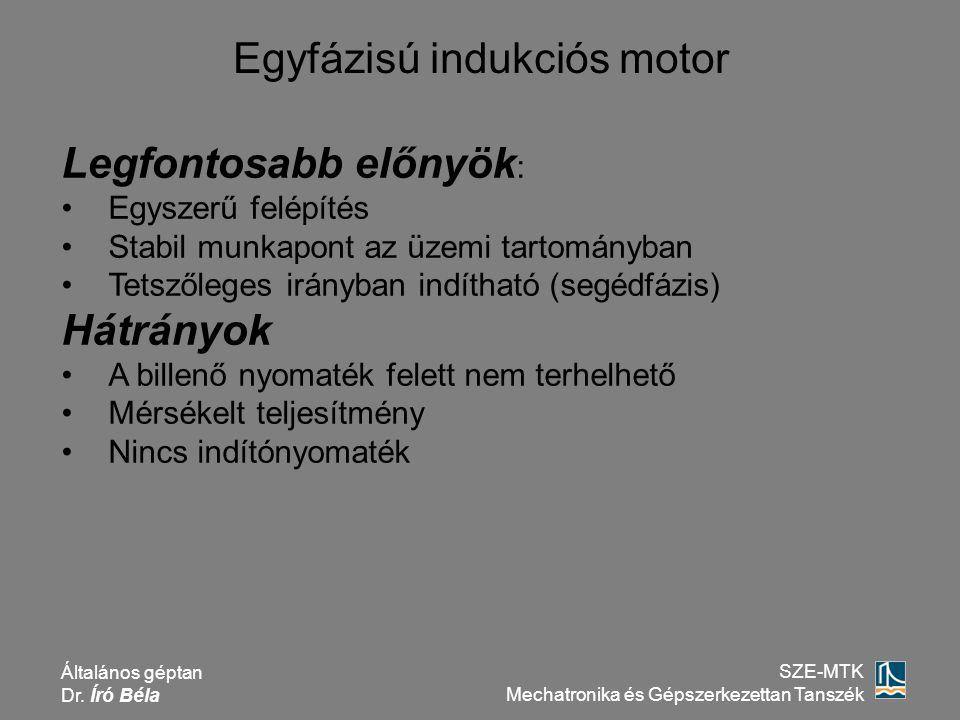 Általános géptan Dr. Író Béla SZE-MTK Mechatronika és Gépszerkezettan Tanszék Egyfázisú indukciós motor Legfontosabb előnyök : Egyszerű felépítés Stab