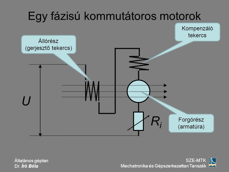 Általános géptan Dr. Író Béla SZE-MTK Mechatronika és Gépszerkezettan Tanszék Egy fázisú kommutátoros motorok RiRi U Forgórész (armatúra) Állórész (ge
