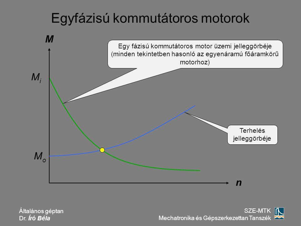 Általános géptan Dr. Író Béla SZE-MTK Mechatronika és Gépszerkezettan Tanszék Egyfázisú kommutátoros motorok M n Egy fázisú kommutátoros motor üzemi j