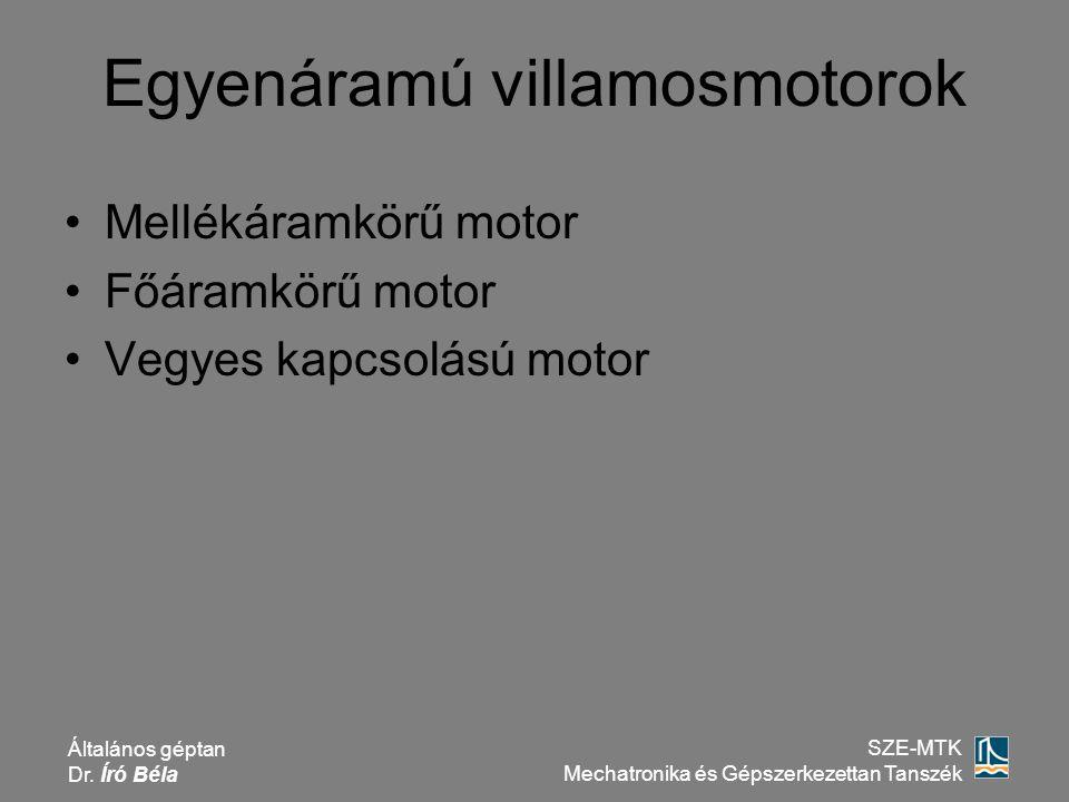 Általános géptan Dr. Író Béla SZE-MTK Mechatronika és Gépszerkezettan Tanszék Mellékáramkörű motor Főáramkörű motor Vegyes kapcsolású motor Egyenáramú