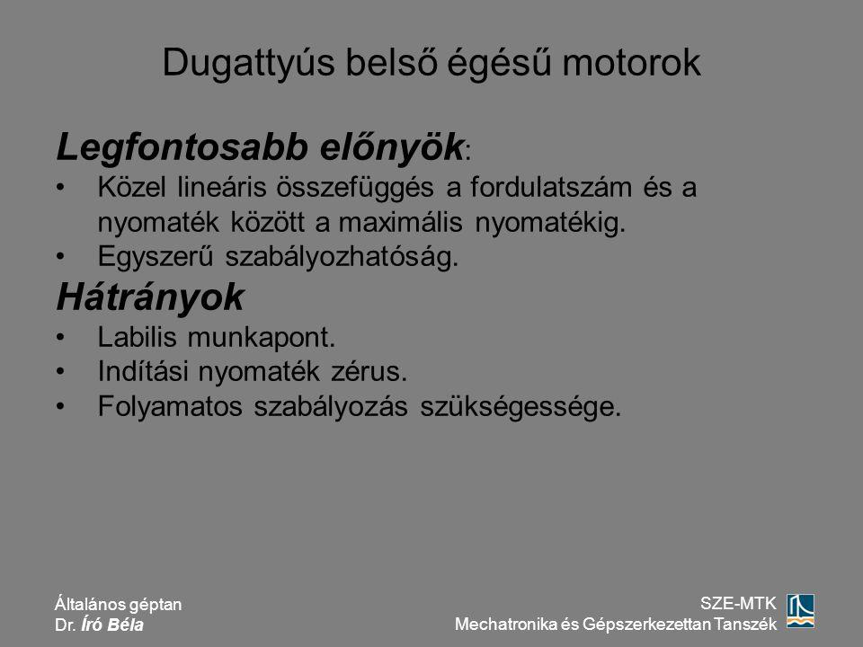 Általános géptan Dr. Író Béla SZE-MTK Mechatronika és Gépszerkezettan Tanszék Dugattyús belső égésű motorok Legfontosabb előnyök : Közel lineáris össz
