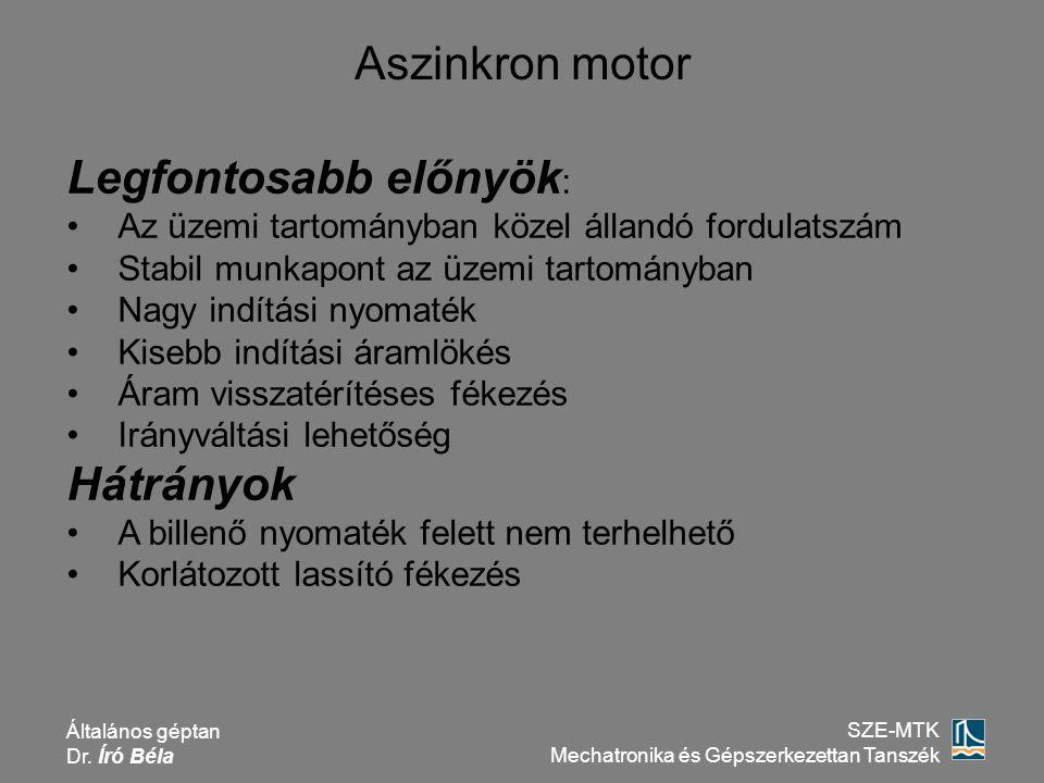 Általános géptan Dr. Író Béla SZE-MTK Mechatronika és Gépszerkezettan Tanszék Aszinkron motor Legfontosabb előnyök : Az üzemi tartományban közel állan