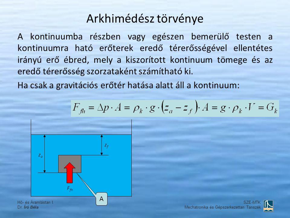 Arkhimédész törvénye A kontinuumba részben vagy egészen bemerülő testen a kontinuumra ható erőterek eredő térerősségével ellentétes irányú erő ébred,