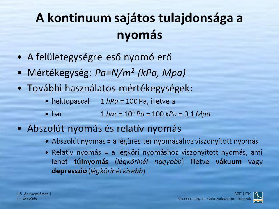 A kontinuum sajátos tulajdonsága a nyomás A felületegységre eső nyomó erő Mértékegység: Pa=N/m 2 (kPa, Mpa) További használatos mértékegységek: hektop