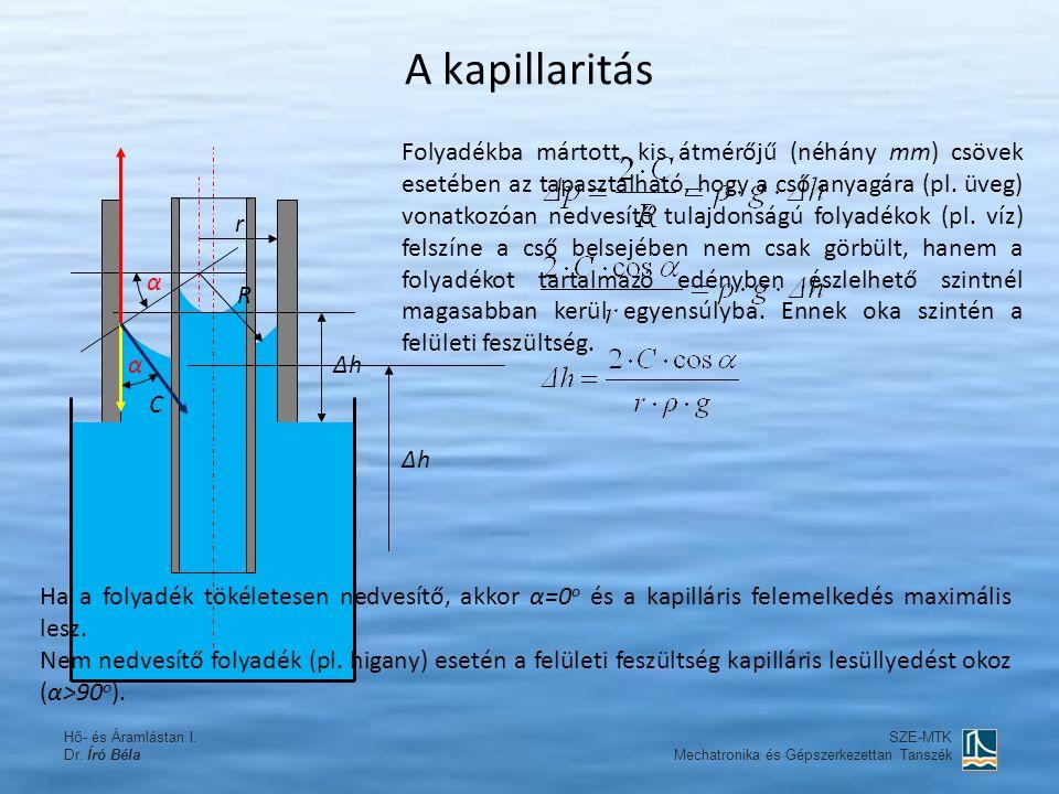 A kapillaritás Folyadékba mártott, kis átmérőjű (néhány mm) csövek esetében az tapasztalható, hogy a cső anyagára (pl. üveg) vonatkozóan nedvesítő tul