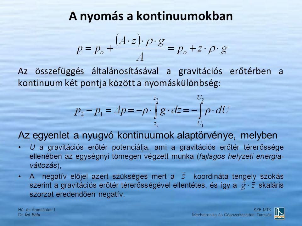 Az összefüggés általánosításával a gravitációs erőtérben a kontinuum két pontja között a nyomáskülönbség: SZE-MTK Mechatronika és Gépszerkezettan Tans