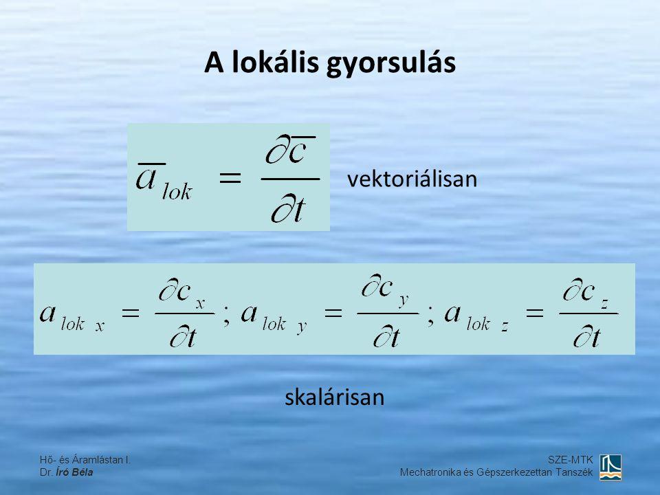 A lokális gyorsulás vektoriálisan skalárisan Hő- és Áramlástan I.