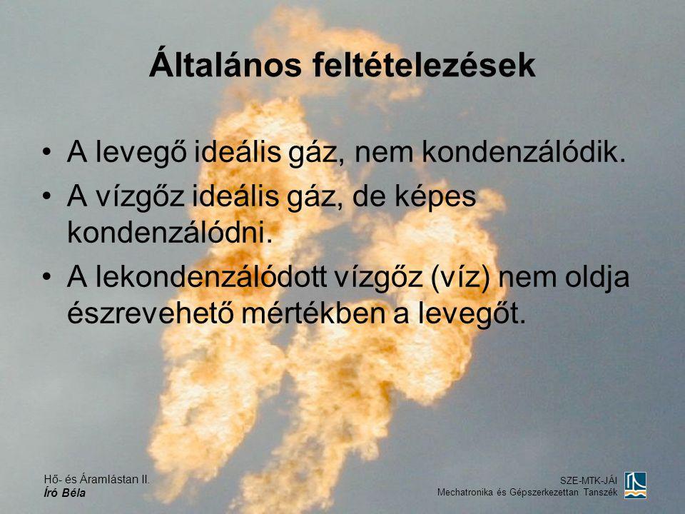 Hő- és Áramlástan II. Író Béla SZE-MTK-JÁI Mechatronika és Gépszerkezettan Tanszék Általános feltételezések A levegő ideális gáz, nem kondenzálódik. A